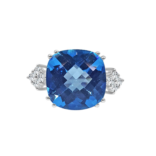 Blue Topaz Cushion Ring With Diamond Trillions