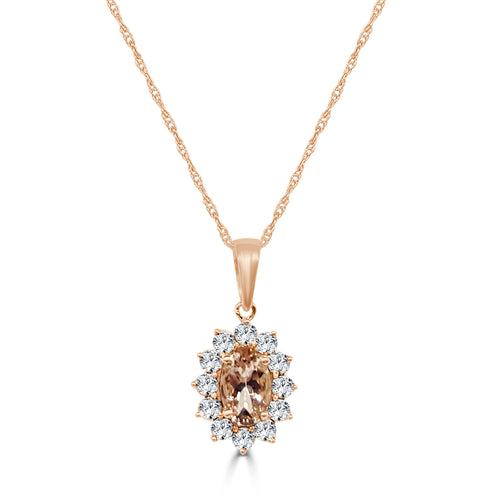 Oval Morganite Necklace With Fancy Halo In Rose Gold