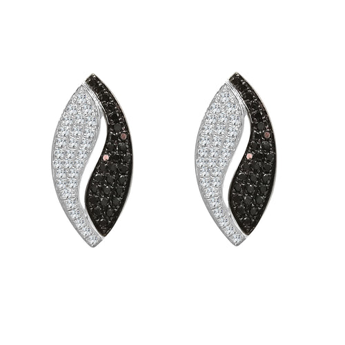 Fancy Curved Black And White Diamond Earrings