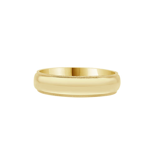 Comfort Fit Milgrain Edge 5mm Band In Yellow Gold