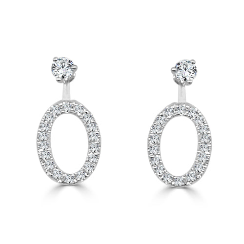 Oval 0.42 Carat Diamond Convertible Earring Jackets