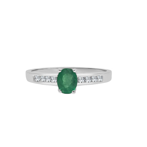 Oval Emerald With Diamond Band Ring