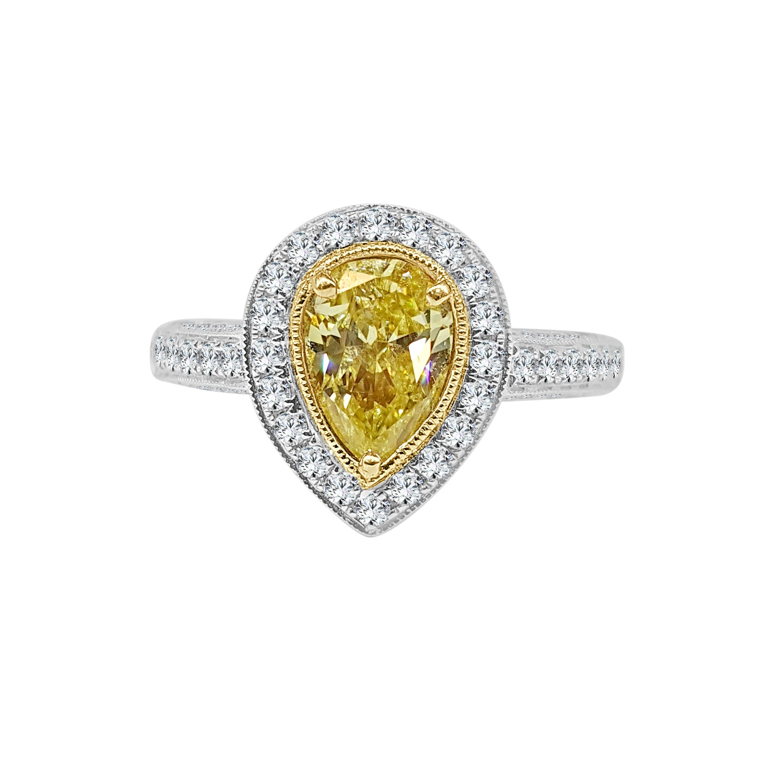 Yellow Pear Shaped Diamond Engagement Ring