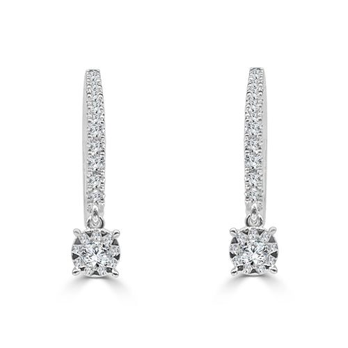 Fancy 0.38 Carat Diamond Bouquet Dangle Earrings