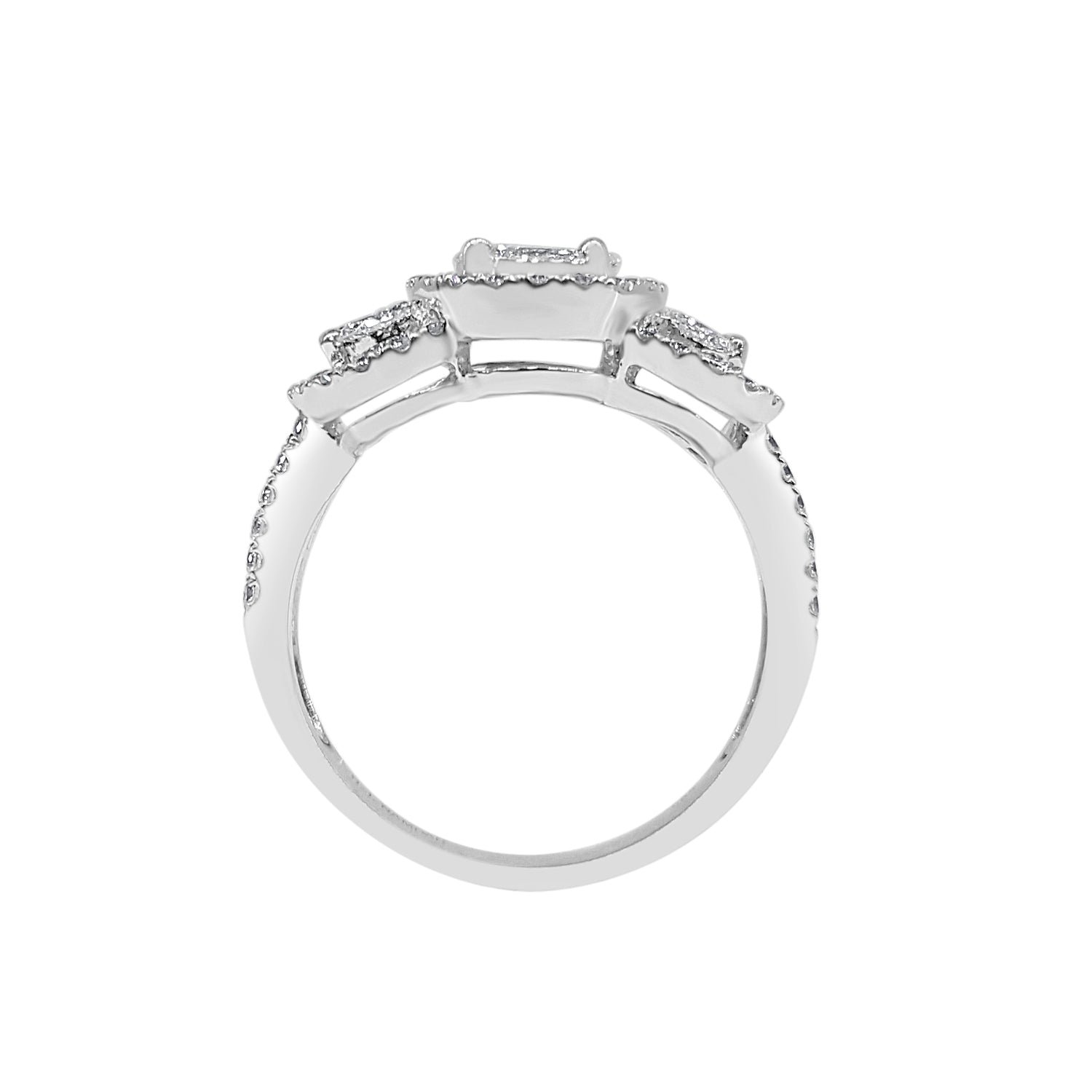Oval Three Stone Halo Ring With Split Band