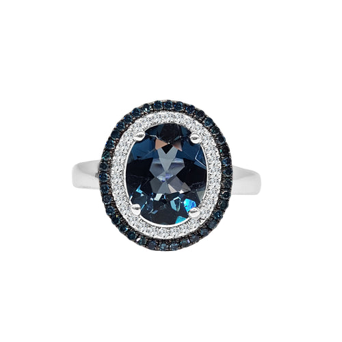 Oval London Blue Topaz Ring With Blue And White Diamond Halo