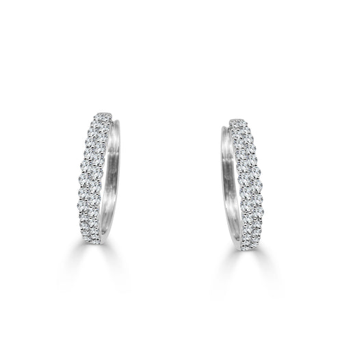 Two Row Diamond Hoop Earrings