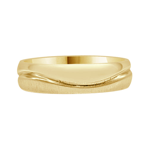Satin And Polished Fancy Wave Band In Yellow Gold