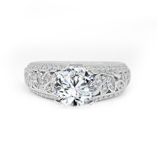Solitaire With Wide Leaf Design Diamond Band