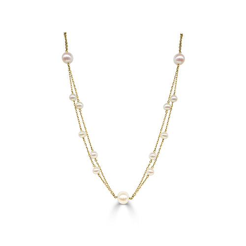 Double Strand Freshwater Pearl Station Necklace
