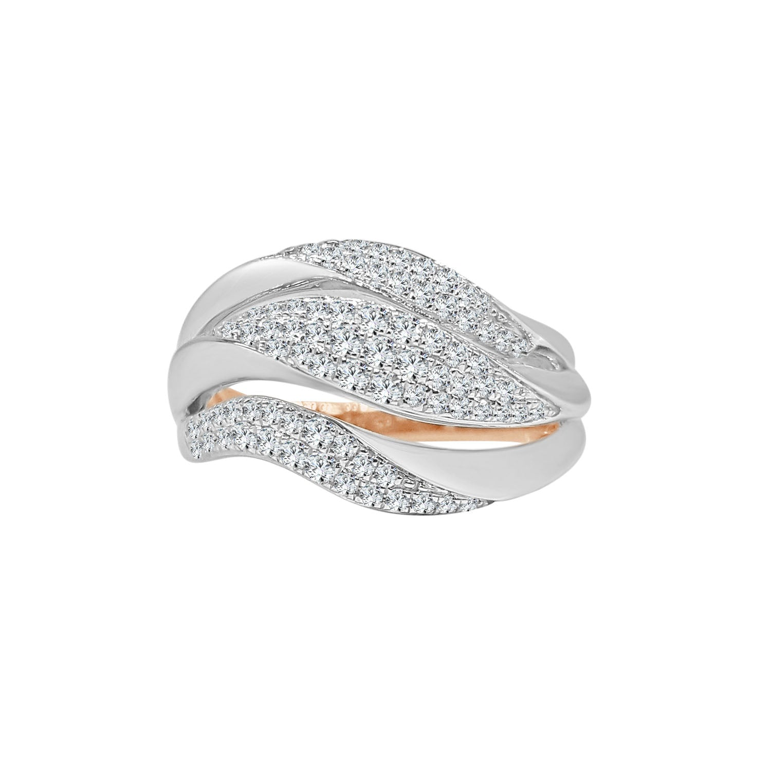 Fancy Waved Two-tone Pave Diamond Ring