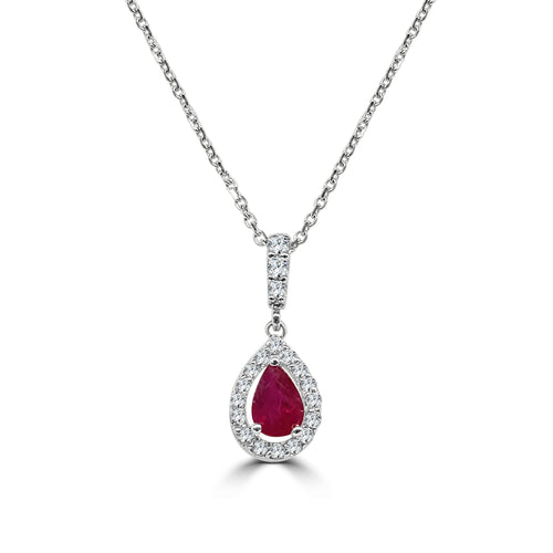 Ruby Teardrop Necklace With Halo