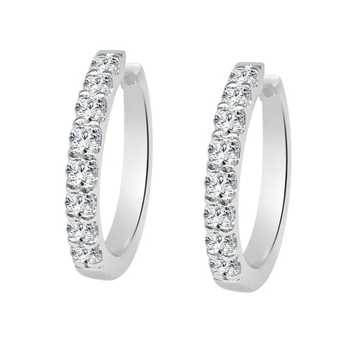 Half Carat Diamond Prong Set Hoop Earrings