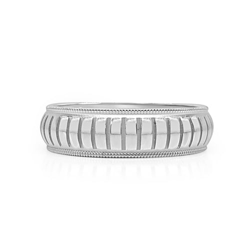 Ridged Milgrain Wedding Band