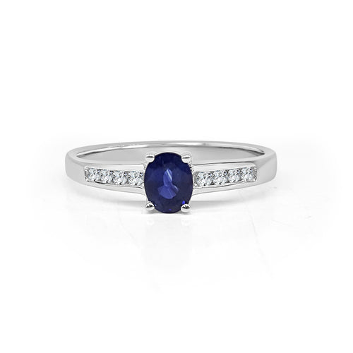 Oval Sapphire Ring With Diamond Band