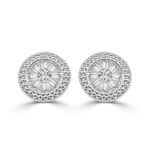 Diamond Studs With Baguettes