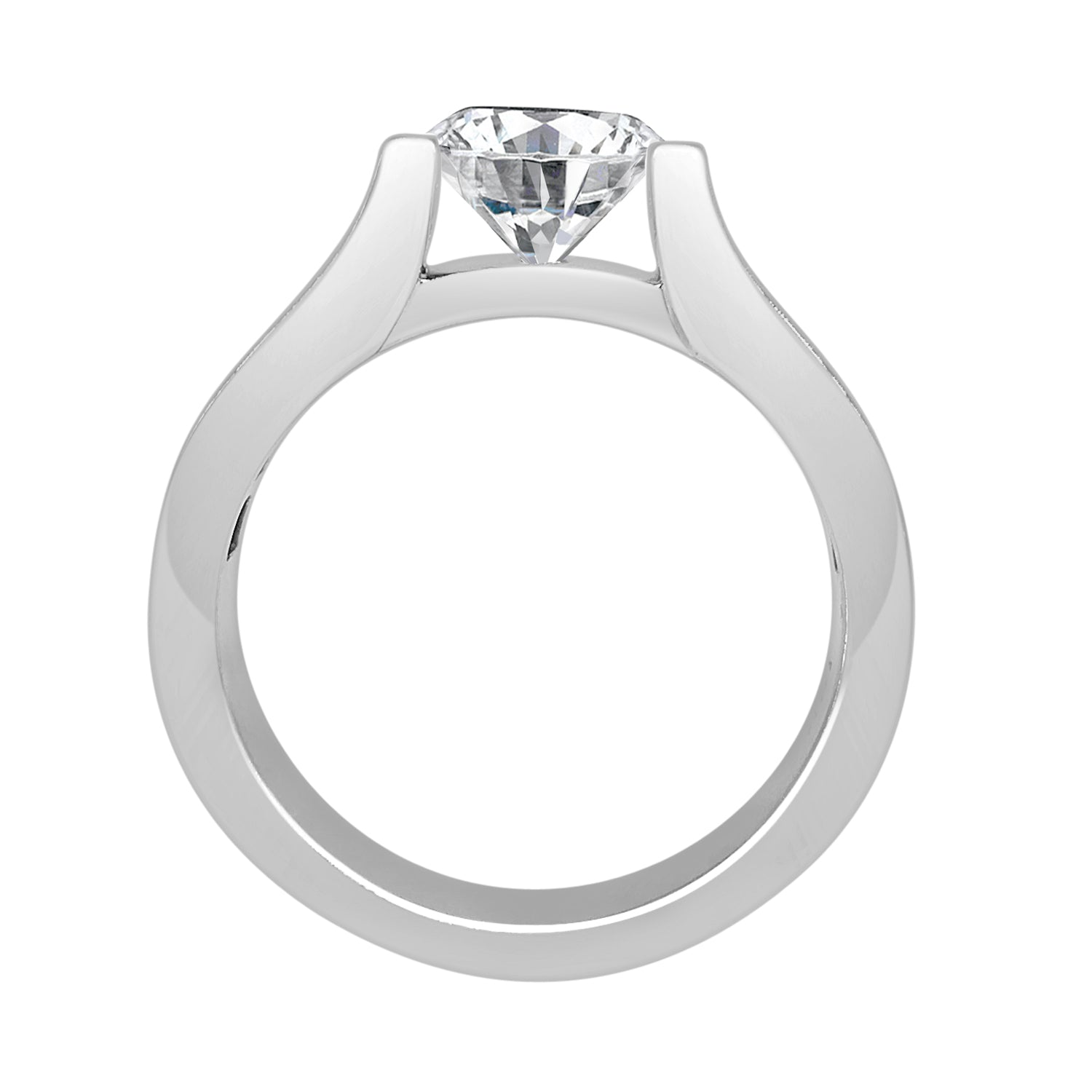 Channel 18 Karat White Gold Classic Engagement Mounting