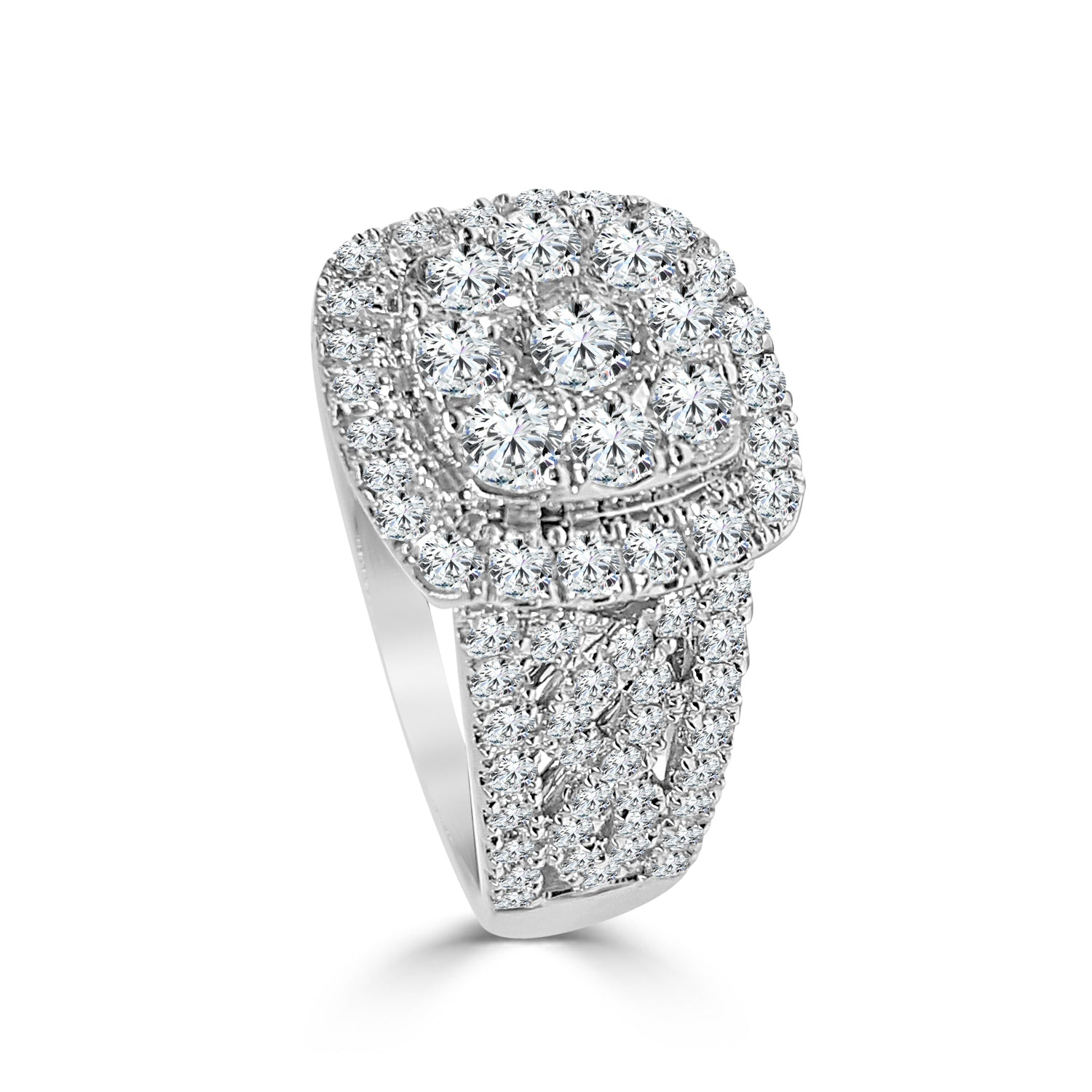 Diamond Cluster Ring With Halo And Wide Band
