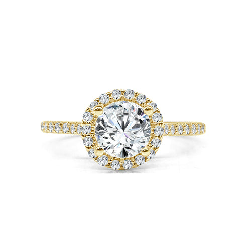 Fana Yellow Gold Round Halo Ring With Fancy Diamond Band