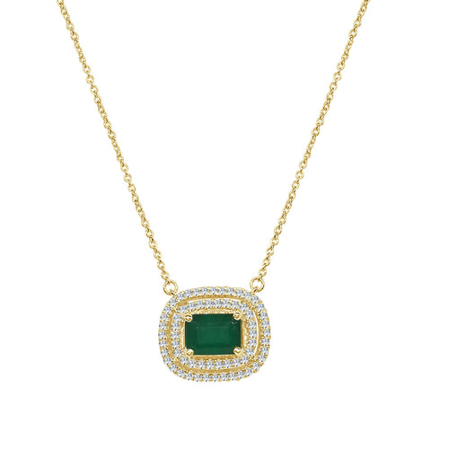 Emerald Cut Emerald Necklace With Double Diamond Halo