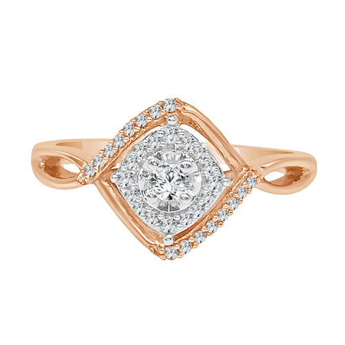 Rose Gold Diamond Twist Halo Cluster Ring