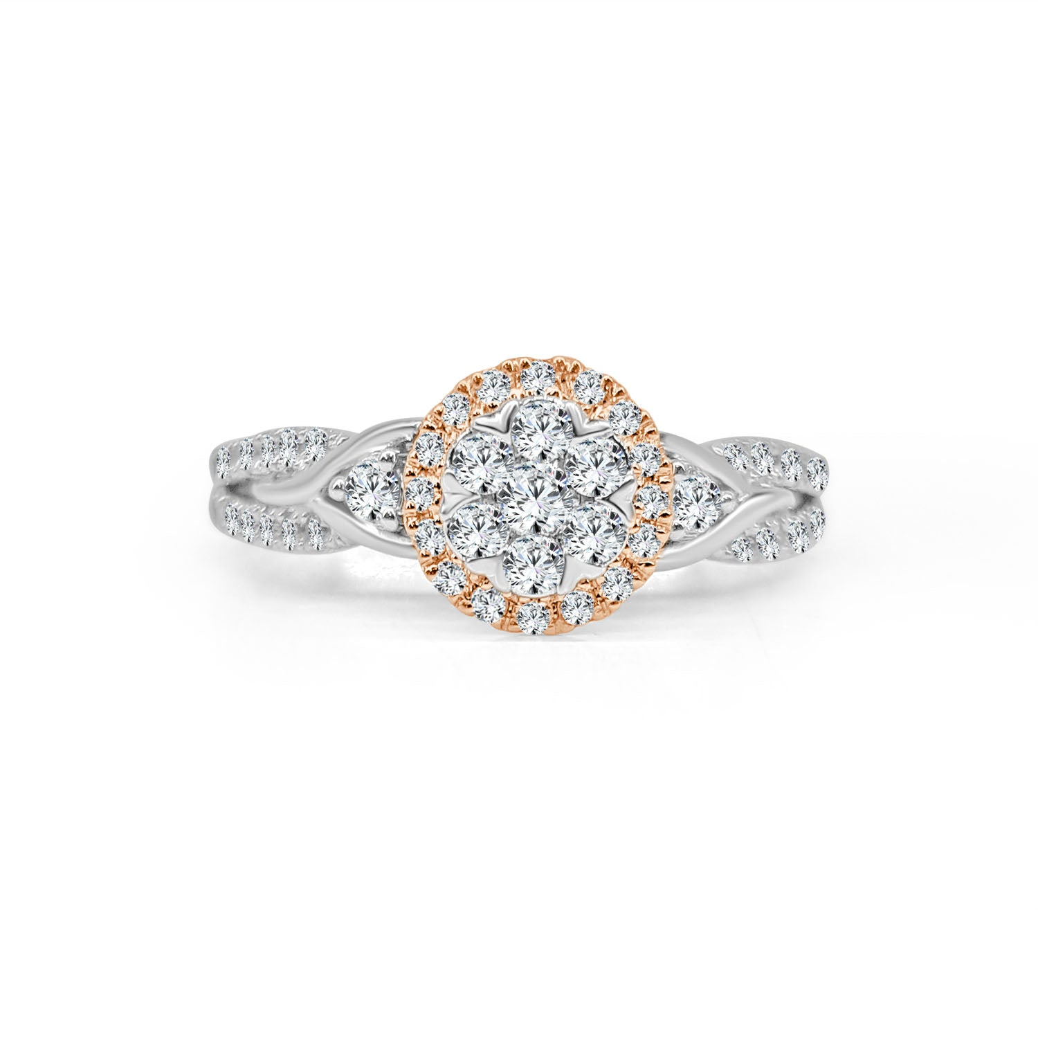 Fancy Cluster Ring With Rose Gold Halo And Twist Diamond Band