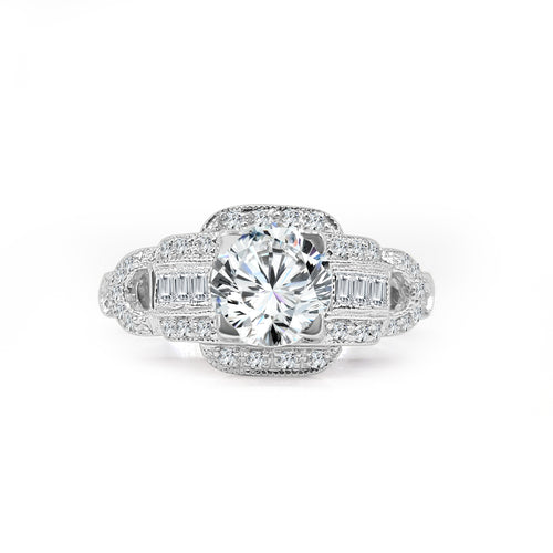 Solitaire With Antique Art Deco Style Diamond Mounting