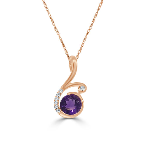 Round Amethyst With Fancy Diamond Swirl Necklace In Rose Gold
