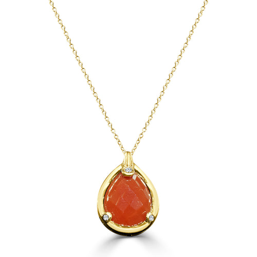 Red-orange Agate And Diamond Necklace