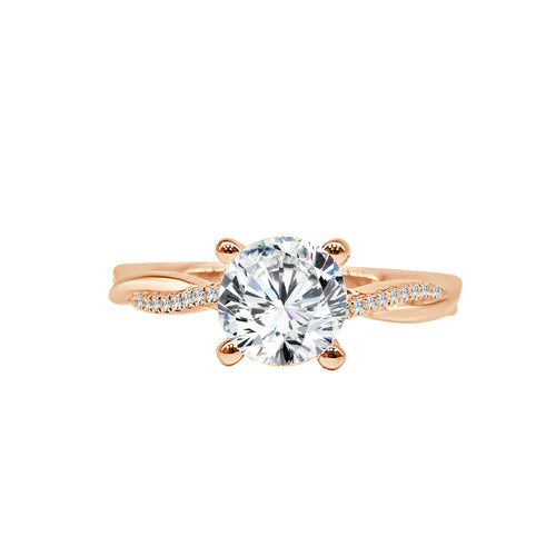 Fana Solitaire Ring With Diamond And Polished Twist