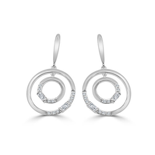 Double Circle Diamond Drop Earrings
