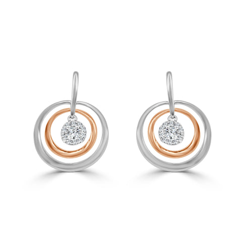 Diamond Two-tone Concentric Circle Dangle Earrings