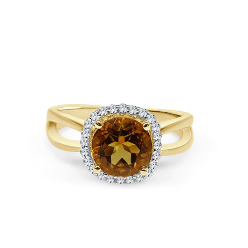 Citrine With Halo And Split Shank Ring