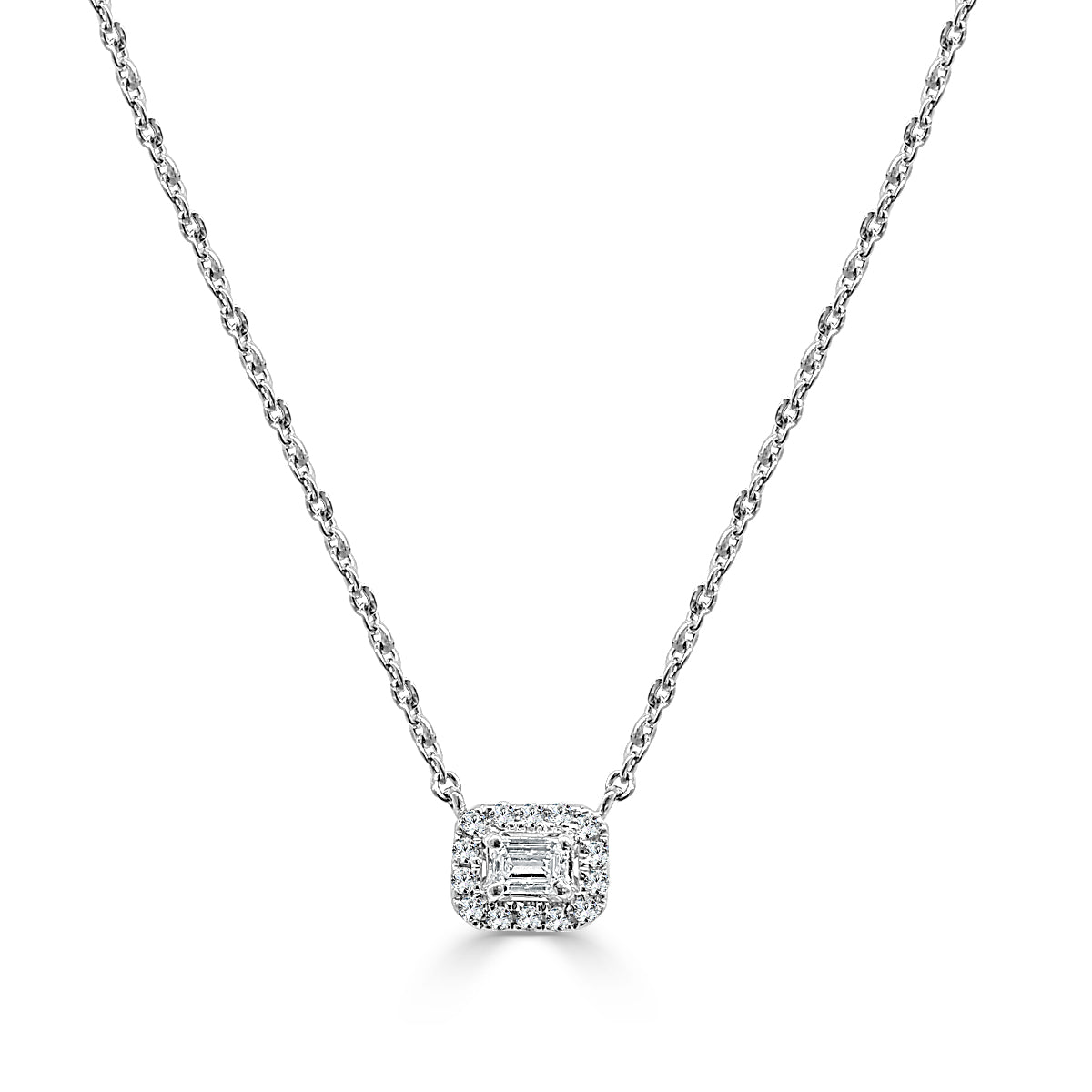 diamond emerald cut pendant product cluster necklace