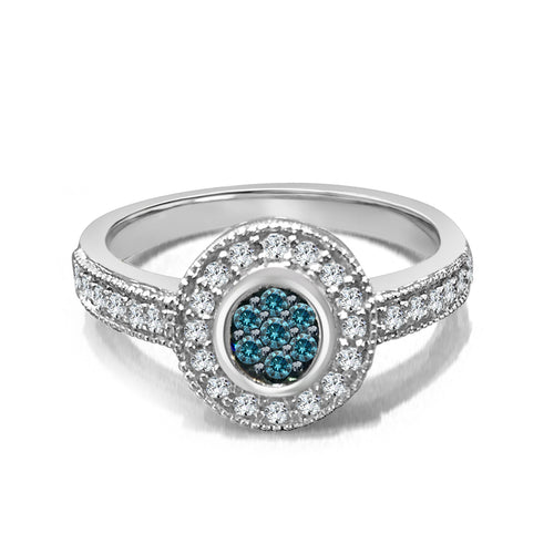 Blue And White Dimaond Halo Ring