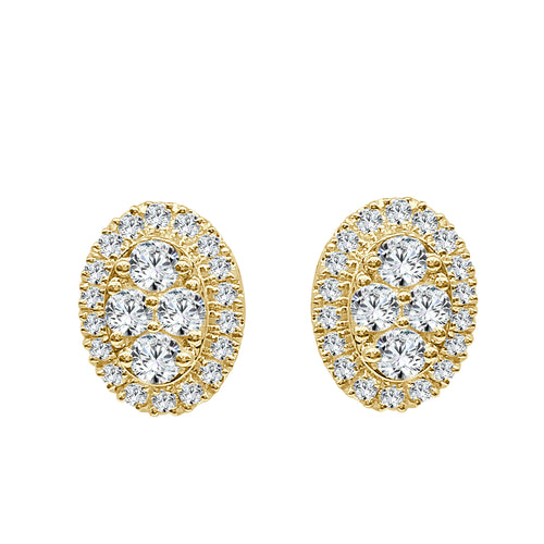 Oval Cluster Diamond Halo Stud Earrings