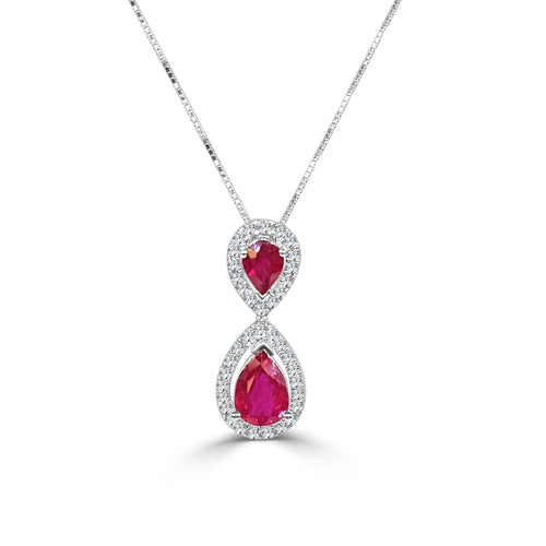 Ruby Teardrops With Diamonds Necklace