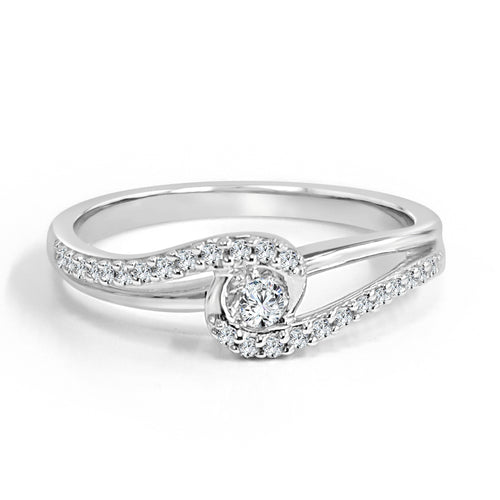 Diamond And Polished Bypass Engagement Ring