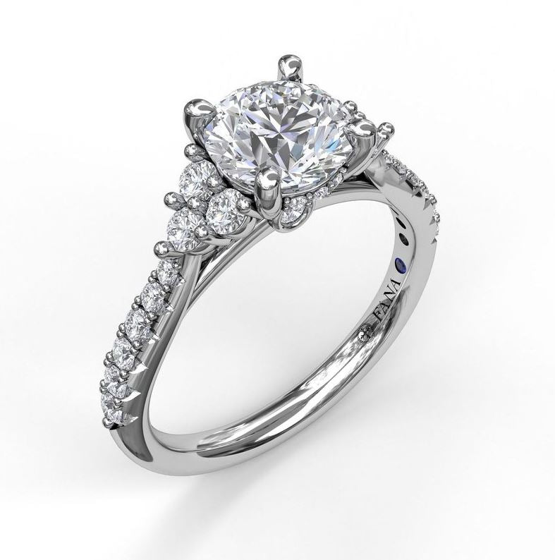 Fana 3 Stone Accent Platinum Classic Engagement Mounting