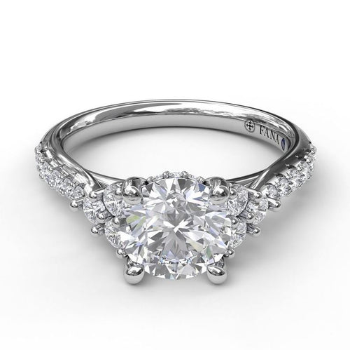 Fana Platinum Solitaire Mounting With Fancy Diamonds Accents