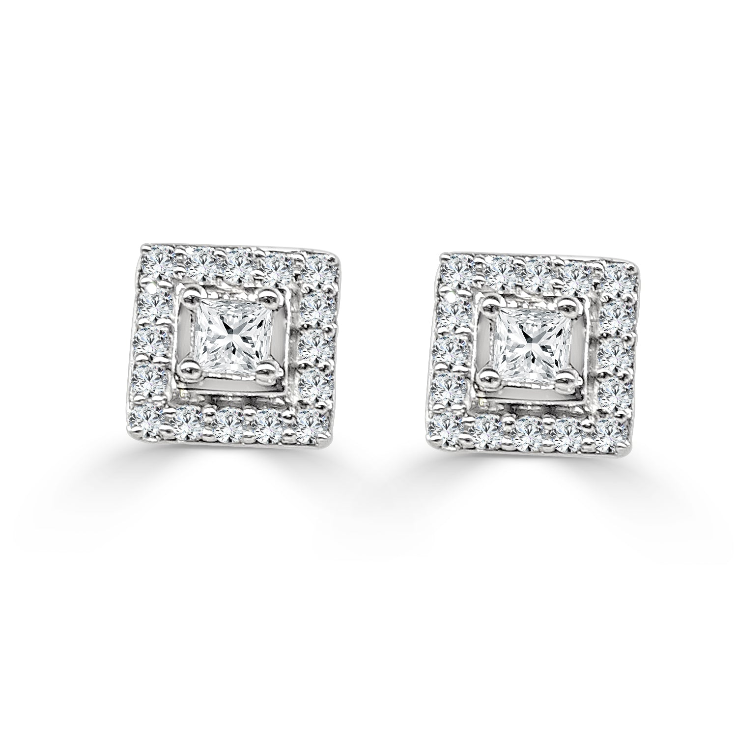 white earrings cttw princess gold cut diamond solitaire collections diamonds stud