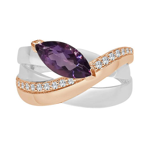 Two-tone Marquis Amethyst and Diamond Polished Crossover Ring