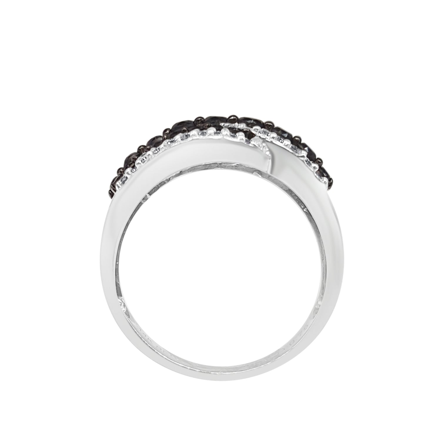 White And Black Diamond Triple Twist Ring