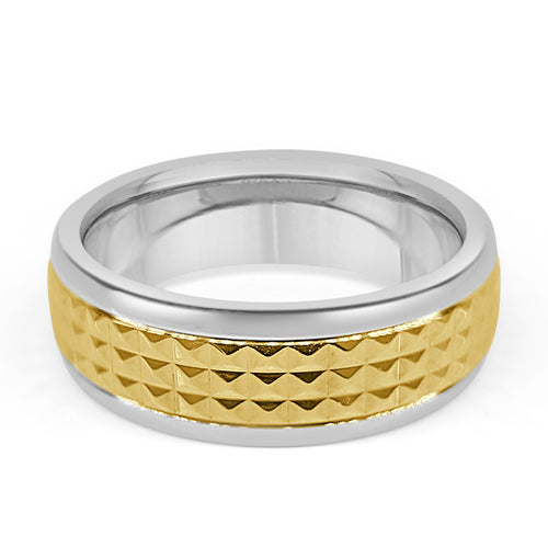 Steel Band With Gold Patterned Center