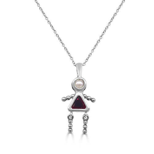 Girl Pendant With Synthetic Garnet And Freshwater Pearl