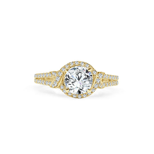 Fana Knotted Halo Engagement Ring With Diamond Fancy Band