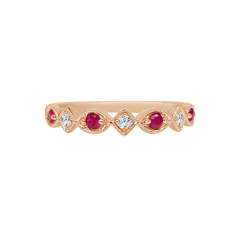 Ruby And Diamond Fancy Band In Rose Gold