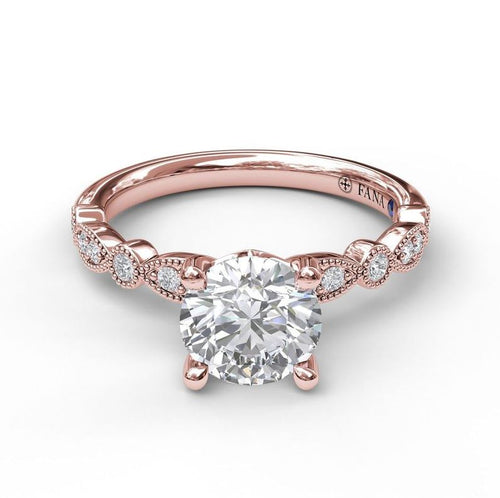 Fana Fancy Milgrain Solitaire Mounting In Rose Gold