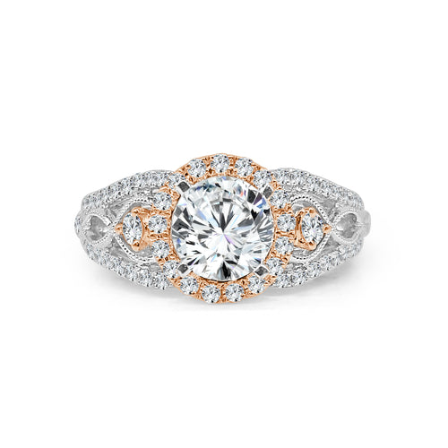 Two Tone Round Halo With Wide Twisted Diamond Band