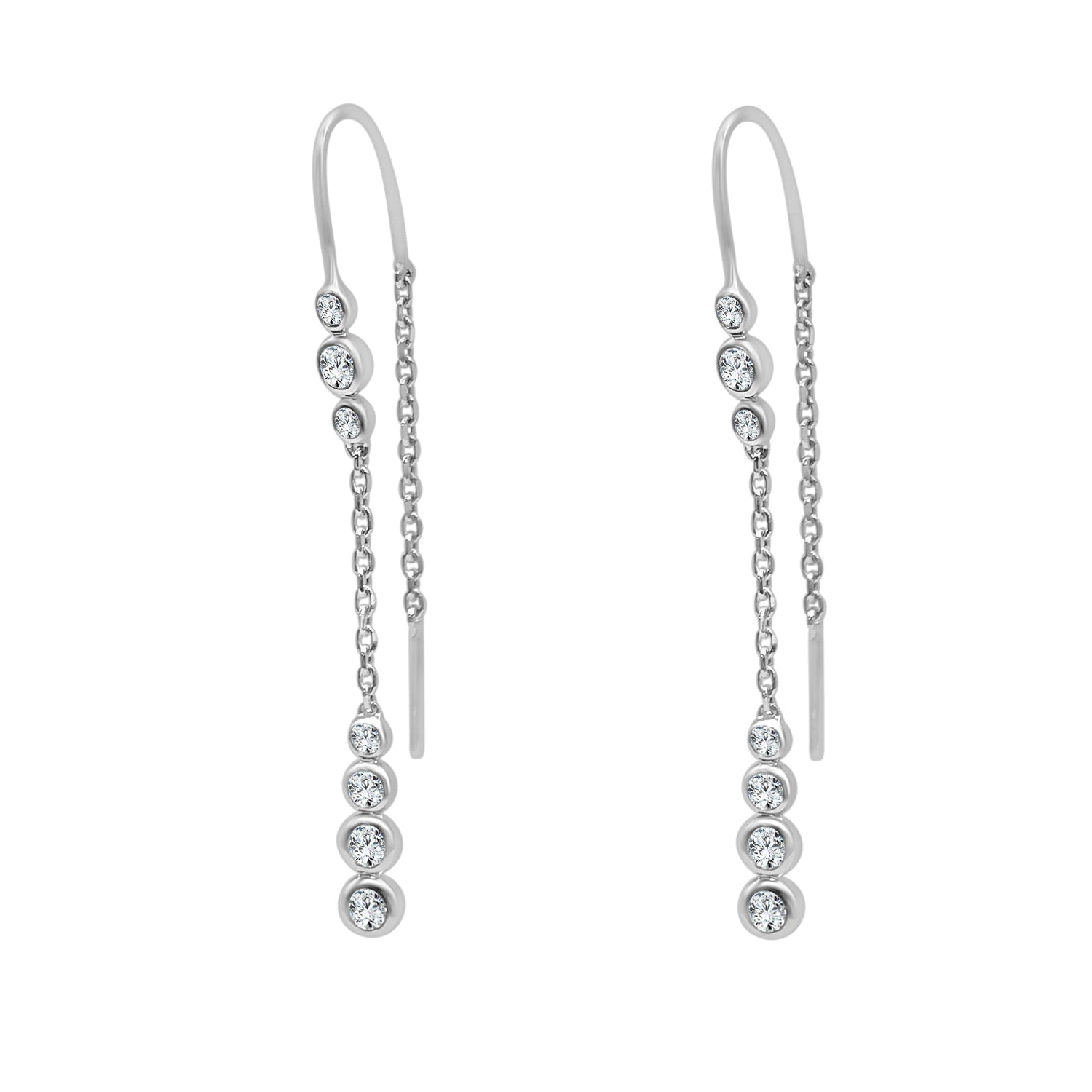 Bezel Set Diamond Threader Earrings